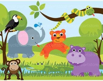 Clipart - Jungle Animals - Savannah Zoo - Digital Clip Art (Instant Download)