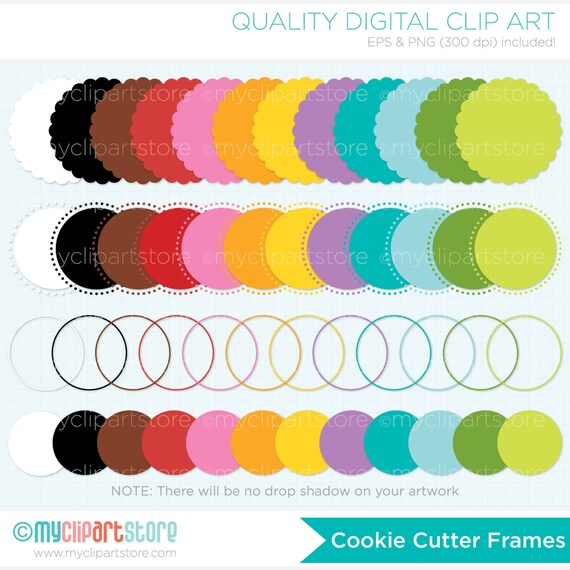 Frames - Cookie Cutter (Bright) Clipart - Round Scalloped Frames Clipart - Instant Download