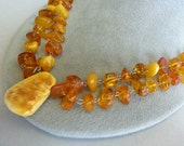 Vintage Baltic Amber Double Strand Hand Made Silver Necklace