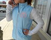 Women's Blue Mist Vest Monogram Font Shown MASTER CIRCLE in Pink