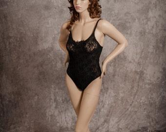 Vintage Petra Teddy Lingerie Black Lace Romper Onesie Size 2x