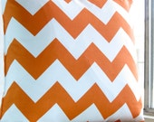 Orange chevron pillow cover 18 x 18 modern bold White zig zag Riley Blake Handmade cotton Home Decorative ONE - VFIllustration