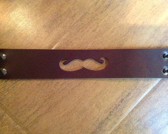 Leather mustache bracelet cuff. Made in USA! Thick, Firm, Strong. #004