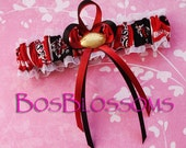 University of South Carolina USC GAMECOCKS fabric handmade into bridal prom garter with your choice charm - size xs s m l xl xxl
