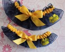 University of MICHIGAN WOLVERINES fabric handmade into wedding garters - garter set w/big gold bows - size xs s m l xl xxl