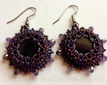 Purple Beaded  Onyx  Earrings