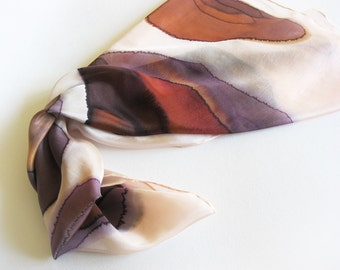 Silk scarf hand dyed Abstract brown women gift Home decor - Ready to ship