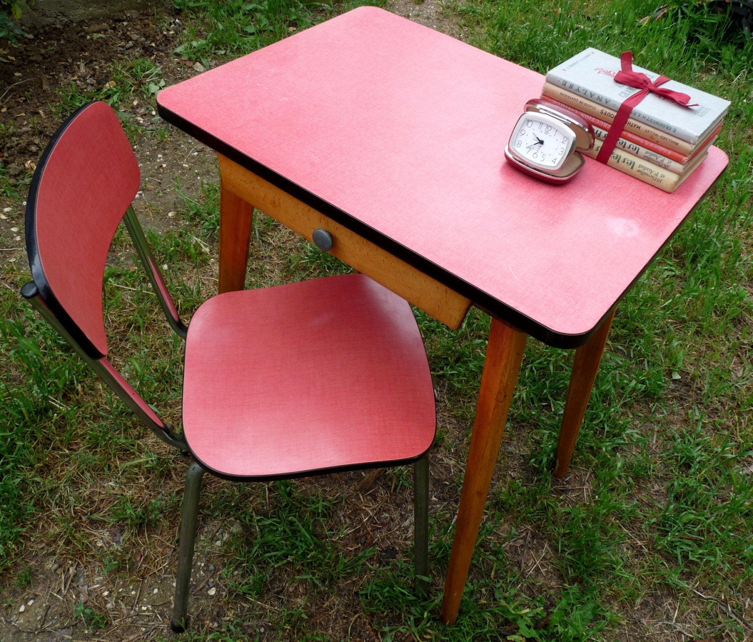 Vintage Formica Desk With Chair Small Pink Table With Pink