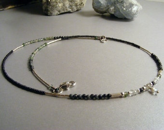 Delicate pretty natural aquamarine, moss agate, snowflake obsidian and sterling silver petite beaded necklace