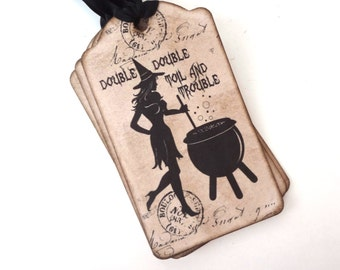 Halloween Witch Tags, Treat Bag Tags, Vintage Halloween Tags, Witch with Cauldron, Halloween Labels, Wiccan Tags, Witch Gift Tags, Set of 10
