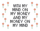 2 Cross Stitch Patterns plus a mini pattern -- Let's rap about money, in 2 styles of 5x7 and a bonus mini