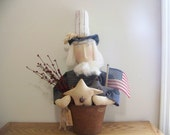Uncle Sam In A Rusty Bucket Primitive Americana Patriotic Decor