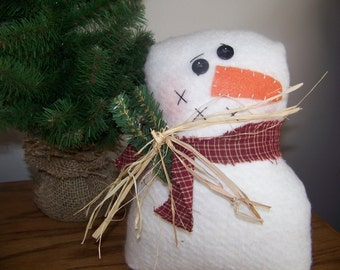 Stuffed Snowman Shelf Sitter/Cupboard Tuck Primitive Christmas Holiday Decor