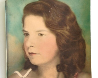 Vintage Hand Tinted Portrait of Young Brunette Girl Found Photo