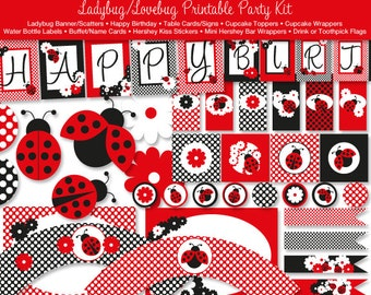 Ladybug Printable Party Kit, Happy Birthday, Instant Download