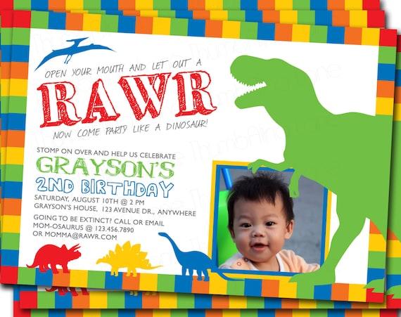 dinosaur printable photo invitation birthday party diy t rex