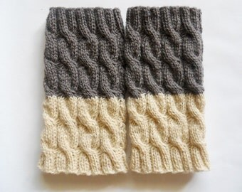 Hand knitted 2 ways to wear wool Women Boot cuffs Leg warmers Cable knit  Brownish Grey Cream Colors