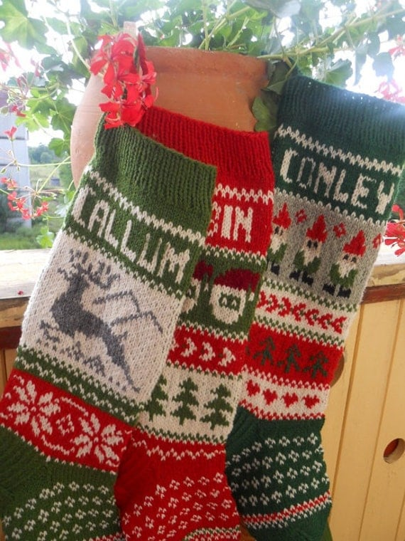 WILL SHIP IN 2018 Christmas Stockings Personalized Hand knit