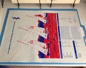 Lightning Sailboat Screen Print Poster Printed on Used Sail Cloth 18x24