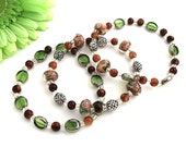 Toss On Bracelet Set Rose Garden in Dusty Mauve Lampwork Beads, Leaf Green, and Earthy Brown Glass with Silver Accents