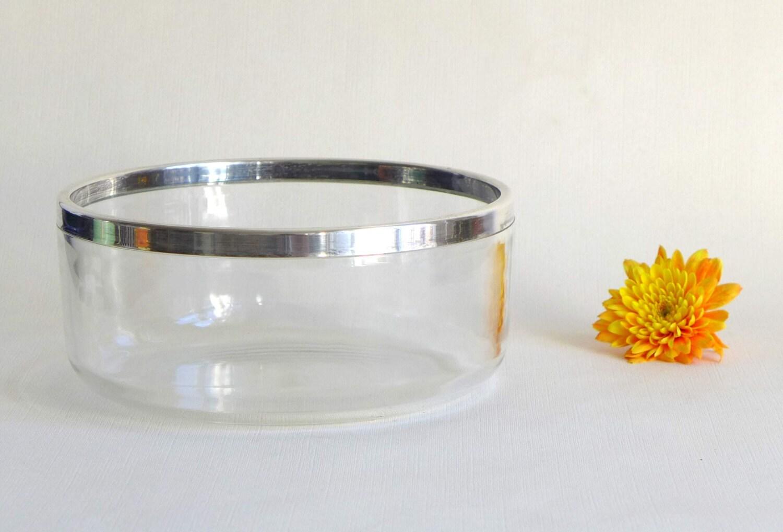 schlichte vintage glassch ssel mit silberrand. Black Bedroom Furniture Sets. Home Design Ideas