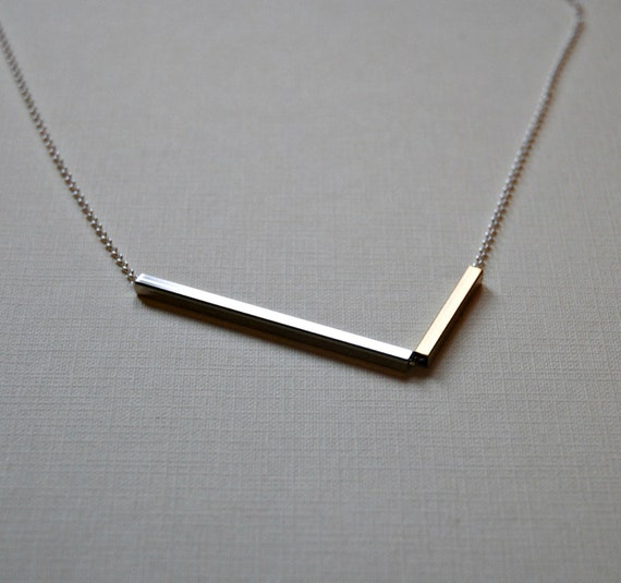 Bar necklace - chevron - v necklace - mixed metals - long sterling silver chain - long necklace - assymetrical - statement jewelry - balance