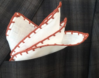 Handmade Linen Pocket Square Russet