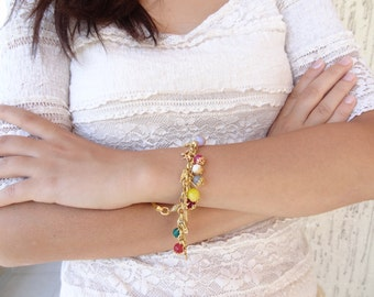 Multi Colored Bracelet, Stone Bracelet, Gold Chain Bracelet, Bridesmaid Gift Bracelet, Wedding Jewelry