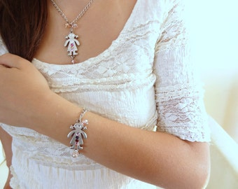Silver Flower girl jewelry set,djustable necklace and  bracelet, wedding jewelry flower girl gift