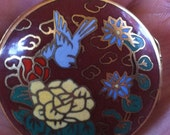Asian Cloisonne Bluebird Forget Me Not and Pale Yellow Peony Locket: A Vintage Lovely Gift for Her
