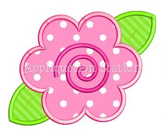 Flower Swirl Applique Machine Embroidery Design Pink INSTANT DOWNLOAD