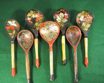 Seven Vintage Hand painted Wooden Spoons