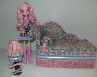 Furniture for Monster High Dolls Handmade Chaise Lounge Bed for Viperine Gorgon with Mirrored Snake Table and Working Lamp!