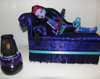 Furniture for Monster High Dolls Handmade Chaise Lounge Bed for Jane Boolittle with Mirrored  Cauldron Table and Working Lamp!
