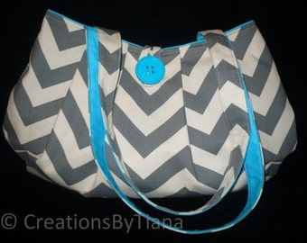 Chevron pleated Bag Purse in Gray & Natural Canvas print w Blue Turquoise, shoulder bag