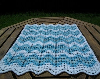 """Baby Boy/Child Blanket/Afghan Hand Crocheted Granny Ripple Design White, Blue, Variegated Baby Print Yarns 34"""" X 41"""" READY TO SHIP"""