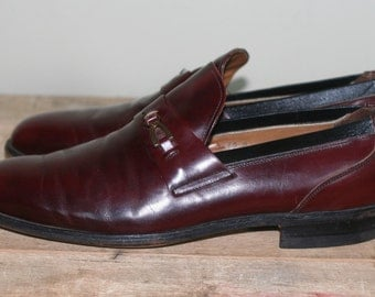 vintage men's slip on brown leather dress shoes breather wright size 10D