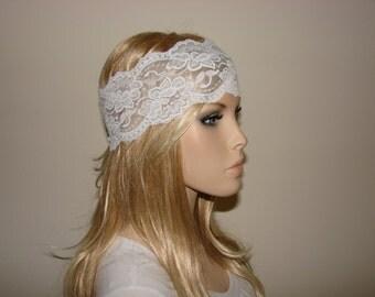 White stretchy wide lace headband, yoga headband, bandana headband, Bohemian Headband, hippie boho flower lace headband Woman Teen Adult