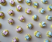 Edible royal icing baby shower bees -- Handmade cupcake toppers cake decorations (25 pieces)