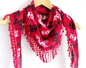 Skull print fringed scarf, red, black, white, Skull scarves, Woman Scarves, Summer Scarves, Girl Scarf, Turkish Fabric Fringed Guipure