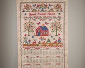 1968 Calendar Nostalgic Home Sweet Home Cloth Fabric Folk Art Wall Hanging Sentimental