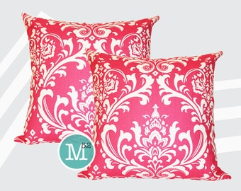 Pink Damask Pillow Covers Shams - 18 x 18, 20 x 20 and More Sizes - Zipper Closure- dc1820