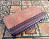 GALAXY S4 case real herringbone brown leather and bois de rose wood case