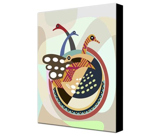 Bird Painting Abstract on Woodblock, Birds Artwork, Cubist Art Birds, Geometric Art Birds, Wall Decor Birds, Bird Art Print