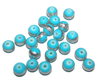 10 - 8mm turquoise glass beads with sparkle silver stripe (010)