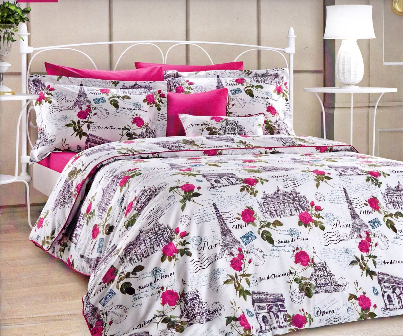 pink paris bedding set for queen or full 6 piece by myveralinen. Black Bedroom Furniture Sets. Home Design Ideas
