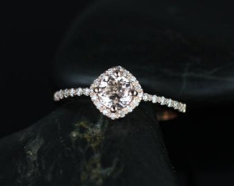 Kitana 5mm 14kt Rose Gold Morganite and Diamonds Cushion Halo Engagement Ring (Other Stone and Metals Available)