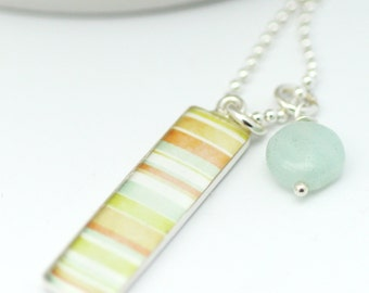 Beachy Necklace | Delicate Necklace | Tag Style Pendant | Soft Color Necklace | Gifts for Her | Gifts under 40