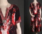 Boho Hippie Catfan Kaftan Ethnic Festival Maxi Tent Dress Indian Cotton size S small