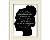 Beautiful-  Audrey Hepburn Quote Art Printable, Simple Black and White Silhouette. Great gift for women, daughter, nursery.